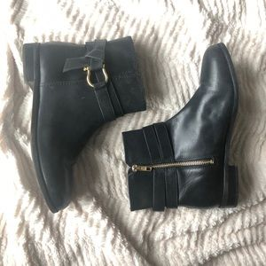 NEW! Sperry Leather Ankle Boots with Gold Detail